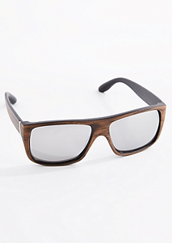 Wood Grain Flat Top Sunglasses