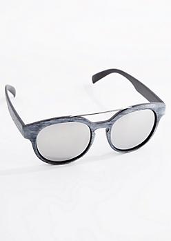 Gray Wood Grain Mirror Sunglasses