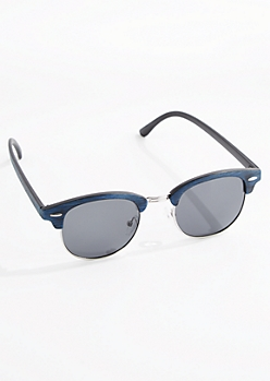 Navy Faux Wood Half-Frame Sunglasses