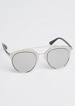 Metallic Silver Brow Bar Sunglasses
