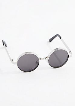 Silver Smoky Layered Round Sunglasses