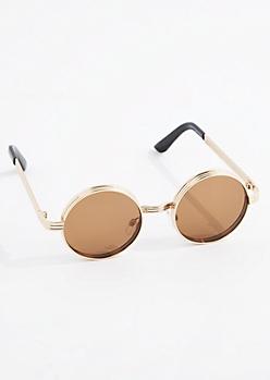 Brown Layered Round Sunglasses