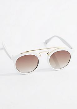 White Rounded Retro Sunglasses