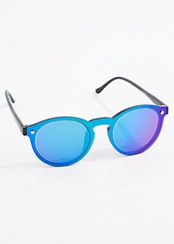 Teal Mirror Retro Sunglasses