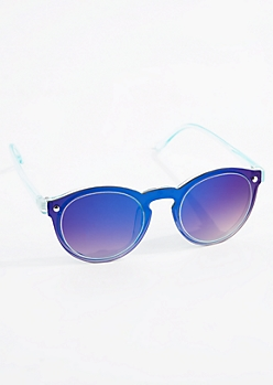 Blue Mirror Retro Sunglasses