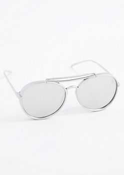 Silver Thick Mirror Lens Aviators