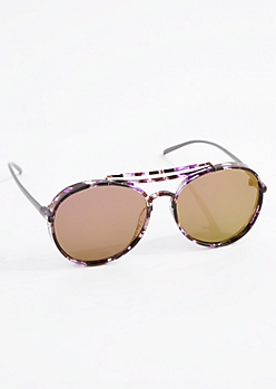 Marbled Thick Smoky Lens Aviators