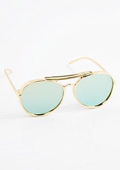 Gold Thick Mirror Lens Aviators