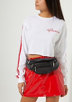 Black Faux Leather Fanny Pack