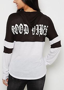 Good Vibes Hooded Drop Yoke Top