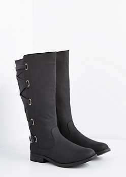 Black Laced Knee High Boot