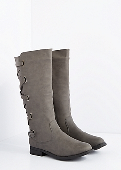 Gray Laced Knee High Boot