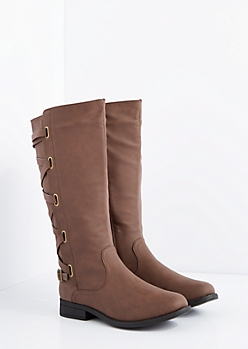 Brown Laced Knee High Boot