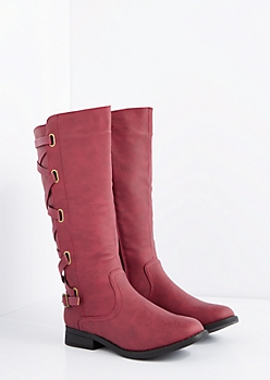 Burgundy Laced Knee High Boot