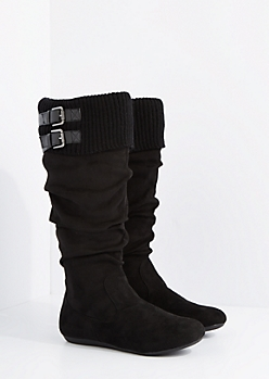 Black Buckled Sweater Cuff Suede Boot