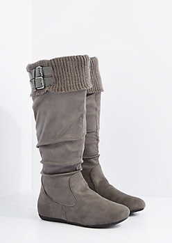 Gray Buckled Sweater Cuff Suede Boot