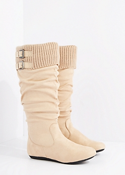 Tan Buckled Sweater Cuff Suede Boot