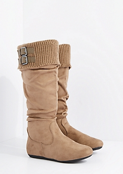 Taupe Buckled Sweater Cuff Suede Boot