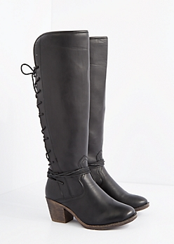 Black Lace Up Back Knee High Boots