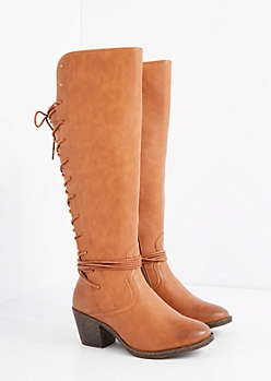 Cognac Lace Up Back Knee High Boots