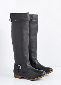 Black Washed Studded Knee High Boot