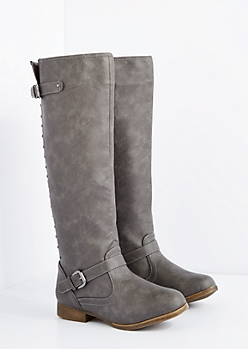 Gray Washed Studded Knee High Boot