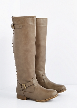 Taupe Washed Studded Knee High Boot