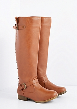 Cognac Washed Studded Knee High Boot