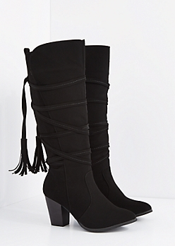 Black Wrapped Tassel Stacked Heel Boot