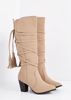 Taupe Wrapped Tassel Stacked Heel Boot