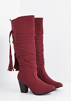 Burgundy Wrapped Tassel Stacked Heel Boot