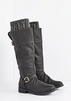 Black Buckled Sweater Trim Knee High Boot
