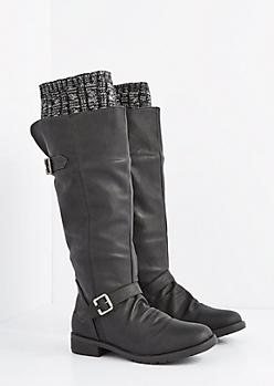 Black Buckled Sweater Trim Knee High Boot