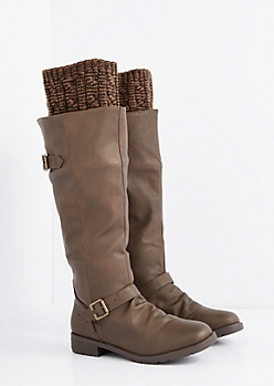 Brown Buckled Sweater Trim Knee High Boot