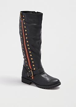 Black Angled Zip Moto Knee-High Boot by Bamboo®