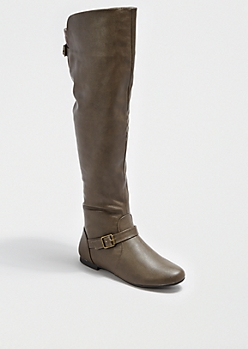Taupe Buckled Back Over-the-Knee Boot By Bamboo®