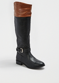 Cognac Cuff Buckled Riding Boot