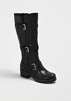 Black Faux Sherpa Riding Boot By Bamboo®