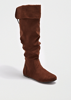 Brown Scrunched Lace-Up Over-the-Knee Boot by Bamboo®