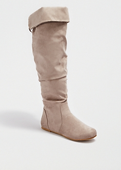 Taupe Scrunched Lace-Up Over-the-Knee Boot by Bamboo®