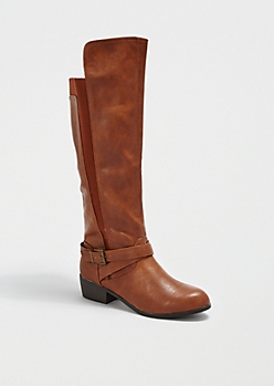 Cognac Strappy Knee-High Boots By Qupid®