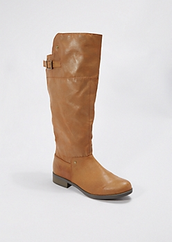 Camel Buckled Riding Boot by Qupid®