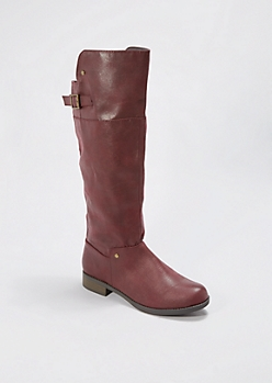 Burgundy Buckled Riding Boot by Qupid®
