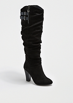 Black Scrunched Suede Heeled Boot By Qupid®
