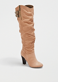 Taupe Scrunched Suede Heeled Boot By Qupid®
