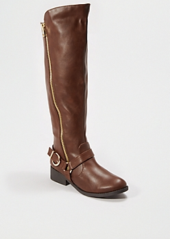 Brown Buckled Knee High Boot By Qupid®
