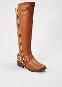 Cognac Buckled Knee High Boot By Qupid®