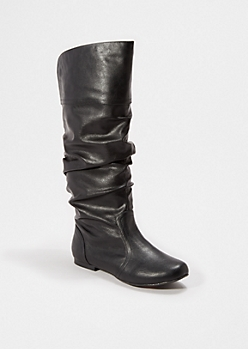 Black Scrunched Knee High Boot By Qupid®