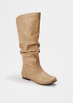 Taupe Scrunched Knee High Boot By Qupid®