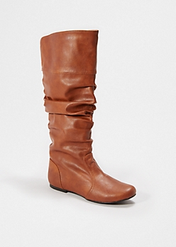 Cognac Scrunched Knee High Boot By Qupid®